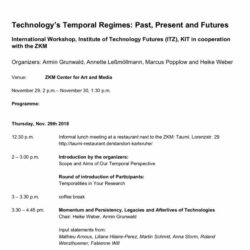 "Input Statement am 29.11.2018: F. Will: Workshop ""Technology's Temporal Regimes: Past, Present and Futures"""