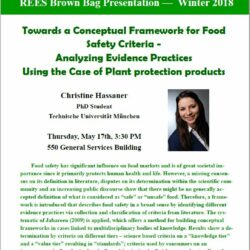 """Vortrag am 17.05.2018: C. Hassauer: """"Towards a conceptual framework for food safety criteria – analyzing evidence practices using the case of plant protection products"""""""
