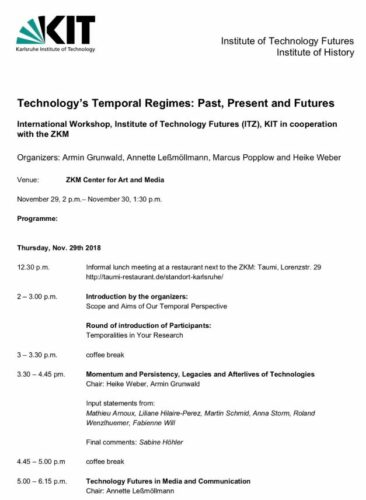 """Input statement 29.11.2018: F. Will, """"Technology's Temporal Regimes: Past, Present and Futures"""" Workshop"""
